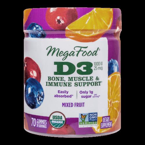 MegaFood Gummy D3 1000 IU Mixed Fruit 70 Gummies