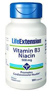 Life Extension Niacin Vitamin B3 500 mg 100 capsules