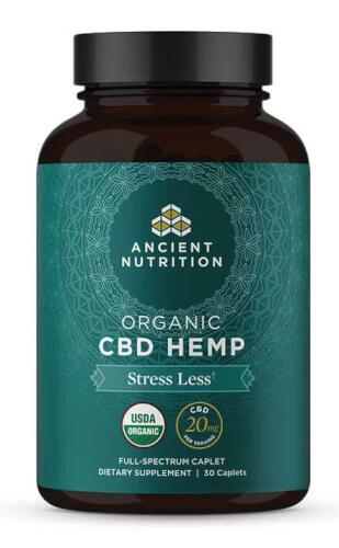 Ancient Nutrition Organic CBD Hemp Stress Less 20mg 30 Caplets