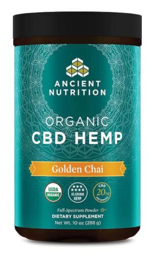 Ancient Nutrition Organic CBD Hemp Golden Chai 20mg 30 Servings Powder
