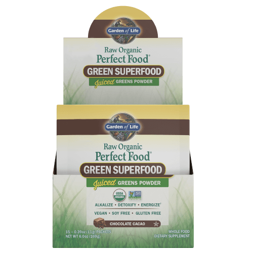 Garden of Life Perfect Food Raw Chocolate Cacao Box of 15 Single Serv. Packs