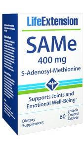 Life Extension SAMe S-adenosyl-methionine 400 mg  60 enteric coated table