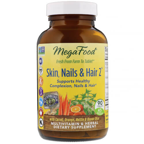 MegaFood Skin Nails Hair 2  90  Tablets 2 Daily