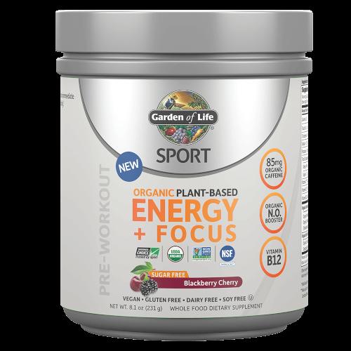 Garden of Life SPORT Organic Plant-Based Energy Focus Sugar Free Blackberry Cherry 231 gram powder