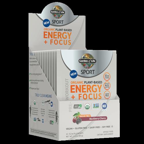 Garden of Life SPORT Organic Plant-Based Energy Focus Sugar Free Blackberry Cherry 12 Single Serv Packs